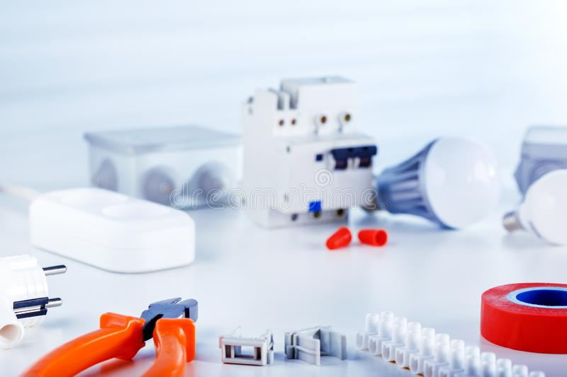 Electrical equipment and tools for repair of electric systems. stock image