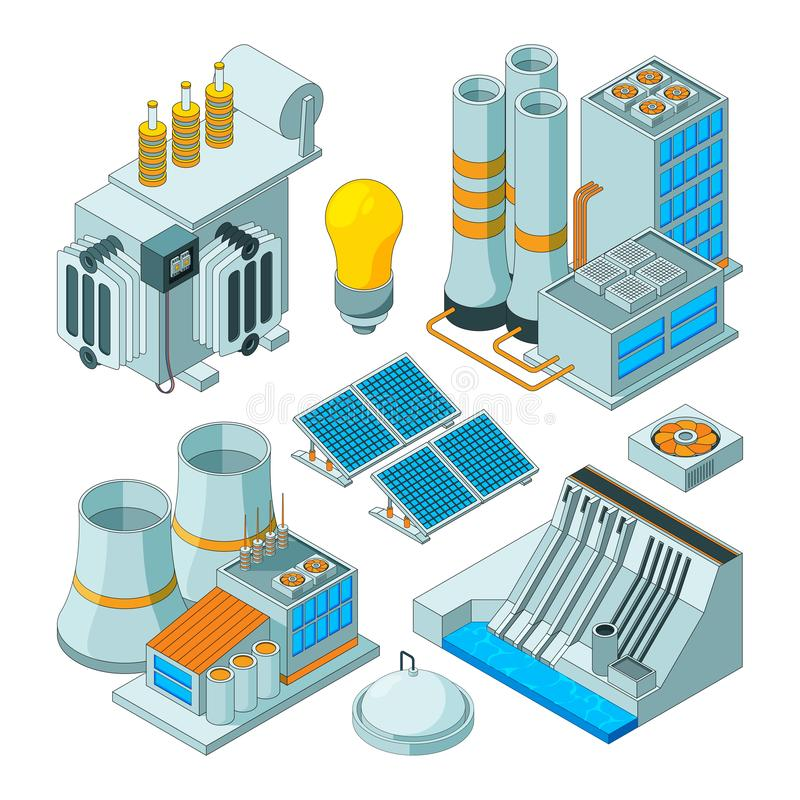 Electrical equipment. Watt electricity lighting generators vector isometric pictures isolated vector illustration