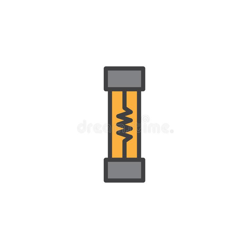Electrical Fuse Filled Outline Icon Stock Vector - Illustration of ...