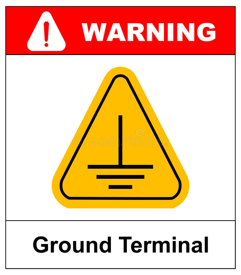 Electrical grounding sign. stock illustration