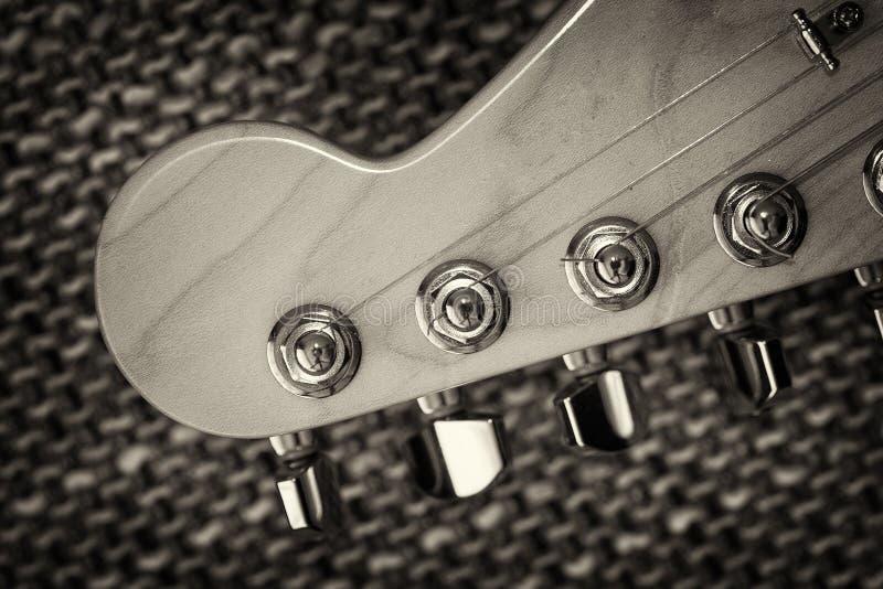 Electrical guitar headstock closeup stock photos