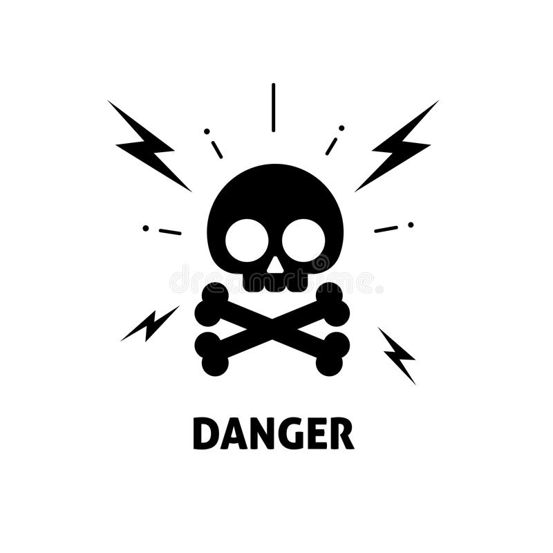 electrical hazard sign vector illustration  flat cartoon