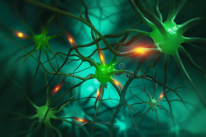 Electrical impulses in the neural networks of the human brain. Neurons 3D illustration. Electrical impulses in the neural networks of the human brain vector illustration