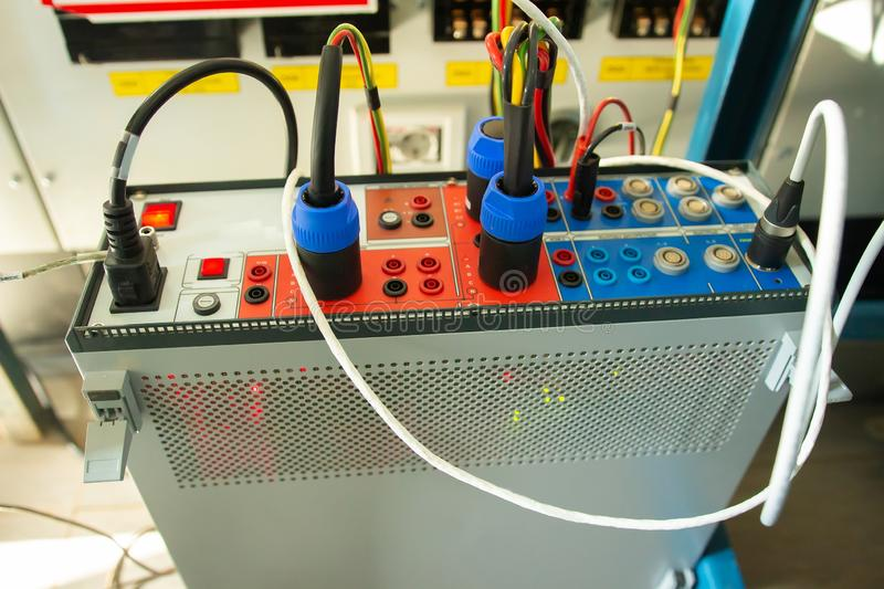 Electrical industrial equipment. Testing tool device for relay protections. Electrical device for testing relay protection at power plants royalty free stock photography