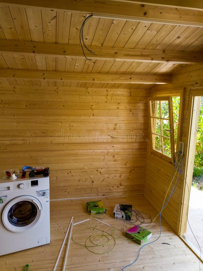 Electrical installation of a cabin stock image