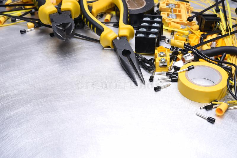 Electrical Installation Tools and Accessories stock image