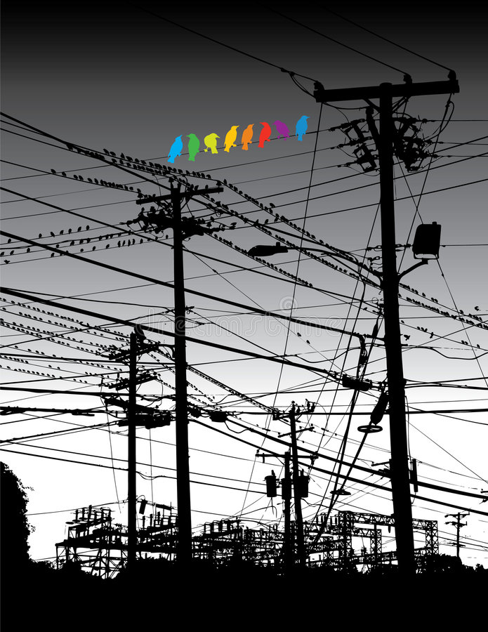 Electrical jungle and birds royalty free illustration