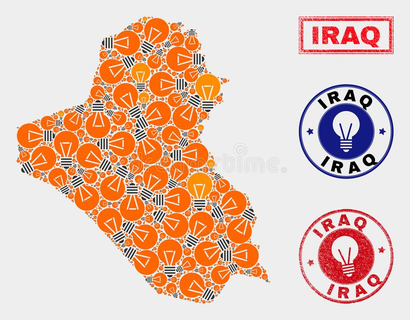 Electrical Bulb Collage Iraq Map and Rubber Stamp Seals. Electrical lamp mosaic Iraq map and rubber rounded stamp seals. Mosaic vector Iraq map is designed with stock illustration