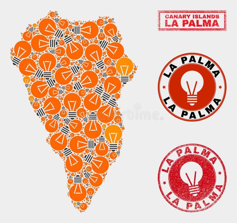 Electrical Lamp Mosaic La Palma Island Map and Rubber Seals stock illustration