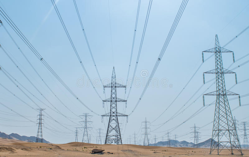 Electrical lines stock image