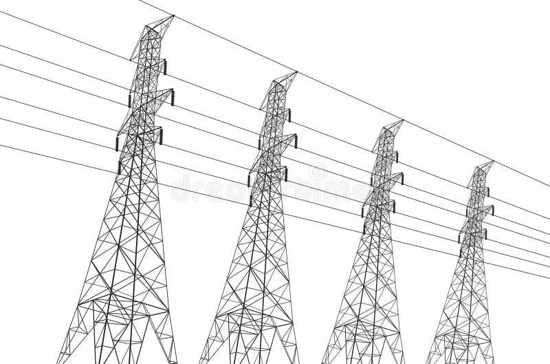 electrical lines power sky иллюстрация вектора