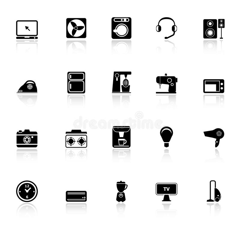 Electrical Machine Icons With Reflect On White Bac Royalty Free Stock Photography