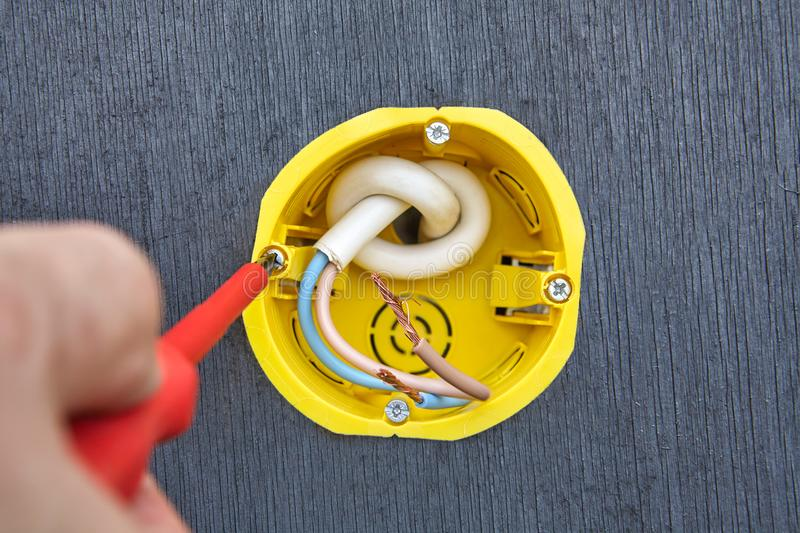 Electrical Outlet Box Replacement  Close-up  Stock Photo