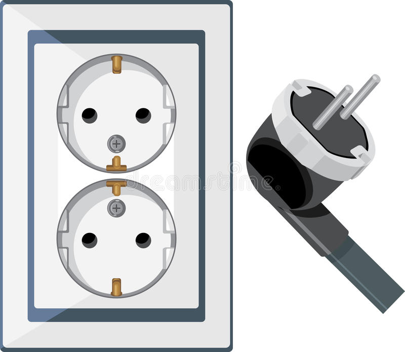 Download Electrical Outlet And Plug Isolated On The White Stock Vector - Image: 29845206