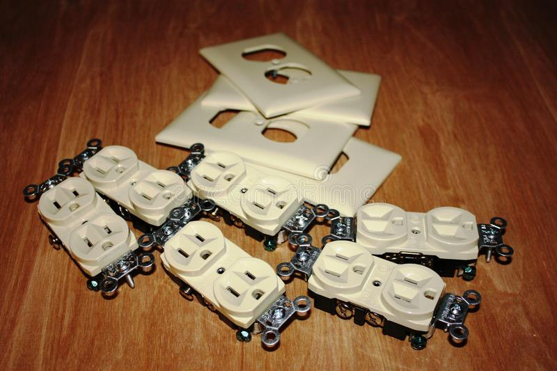 Electrical outlets stock images