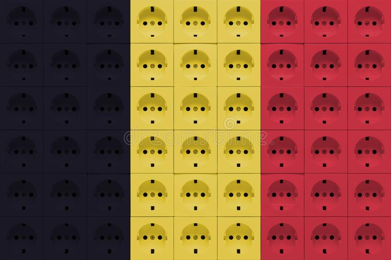 Electrical outlets in the colors of the flag of Belgium stock photography