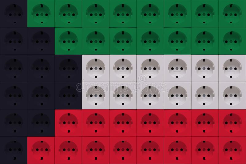 Electrical outlets in the colors of the flag of Kuwait royalty free stock photography