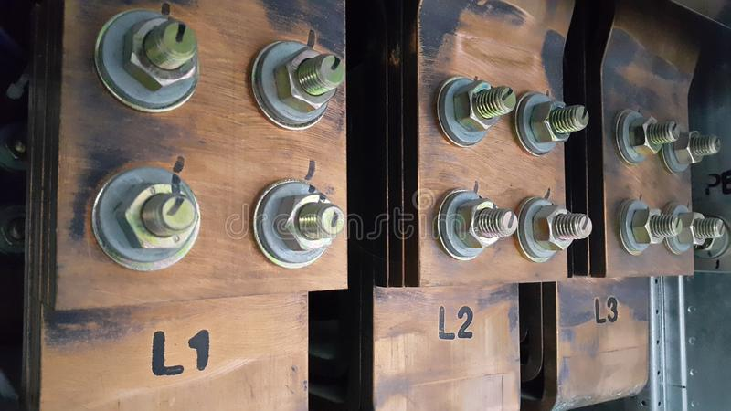Electrical part and accessories in the control cabinet , control and power distributor,Air circuit breaker. And main busbar for low voltage royalty free stock photos