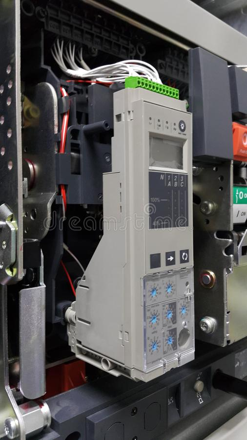 Electrical part and accessories in the control cabinet , control and power distributor,Air circuit breaker royalty free stock photos