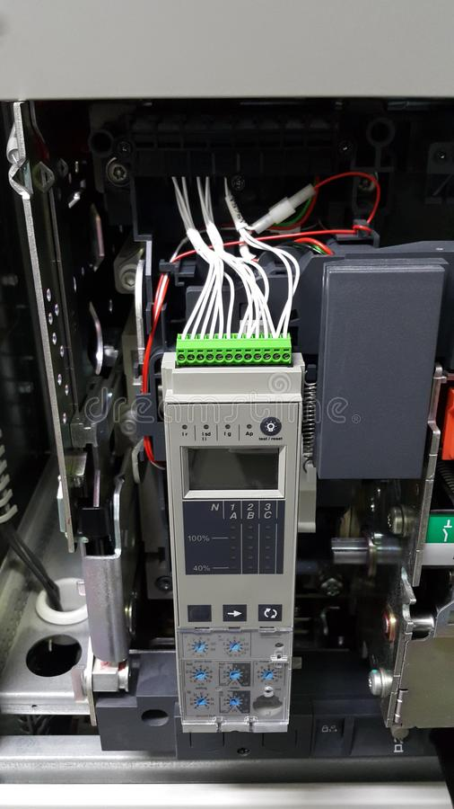 Electrical part and accessories in the control cabinet , control and power distributor,Air circuit breaker. And main busbar for low voltage stock photo