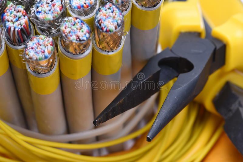 Electrical pliers and cables stock photos