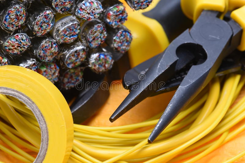 Electrical pliers and cables royalty free stock photography
