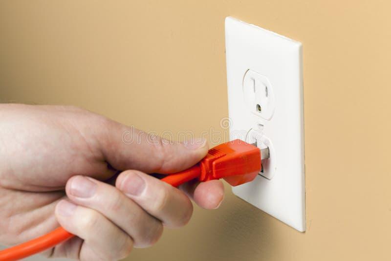 Download Electrical plug stock image. Image of orange, wall, cord - 28724863