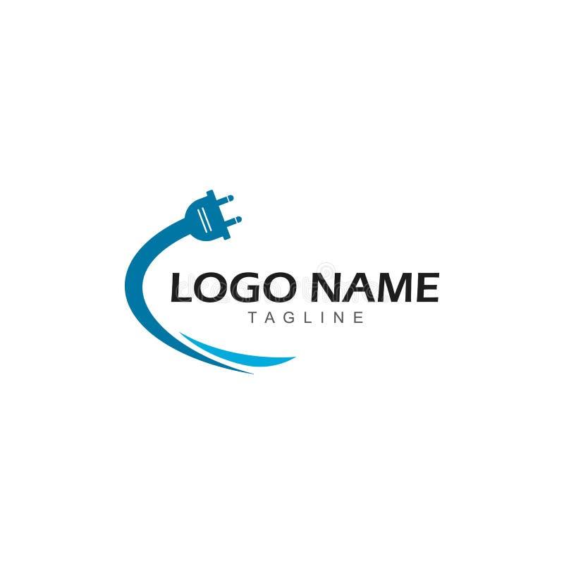 Electrical plug logo vector icon illustration stock illustration