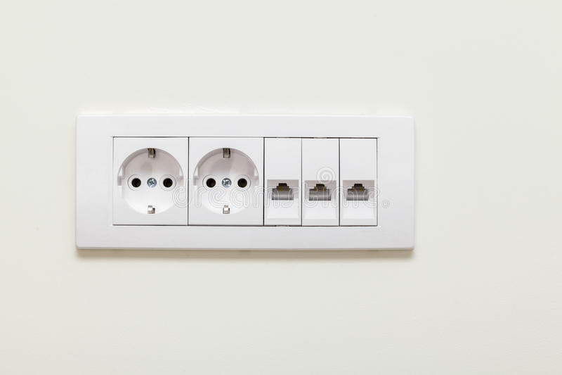 Electrical plug and socket for telephone lines royalty free stock photo