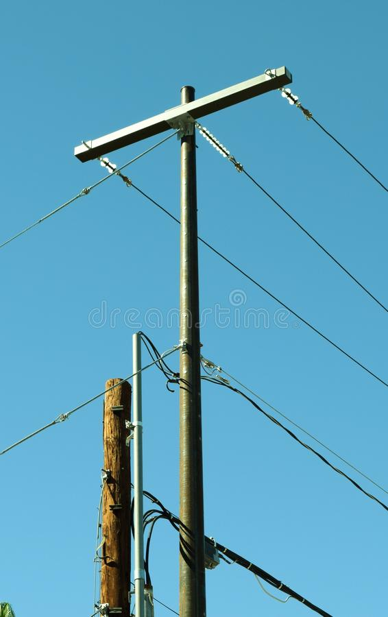 Electrical pole and powerlines royalty free stock photo