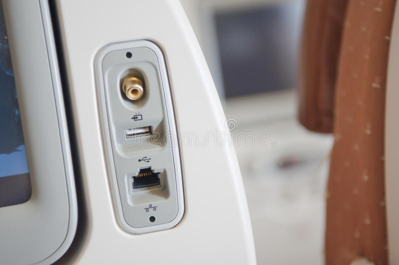 Electrical Ports On Board Aircraft Stock Photography