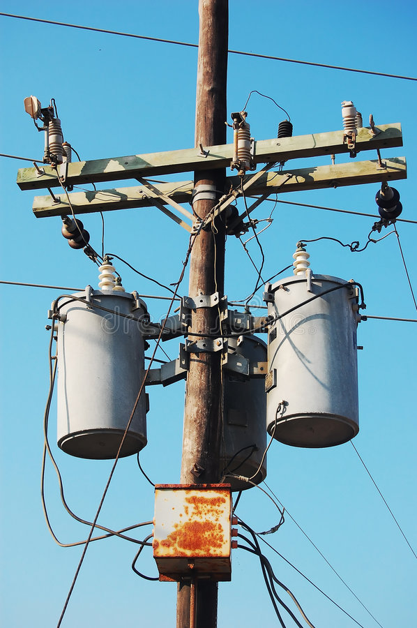 Electrical post with transformer stock image