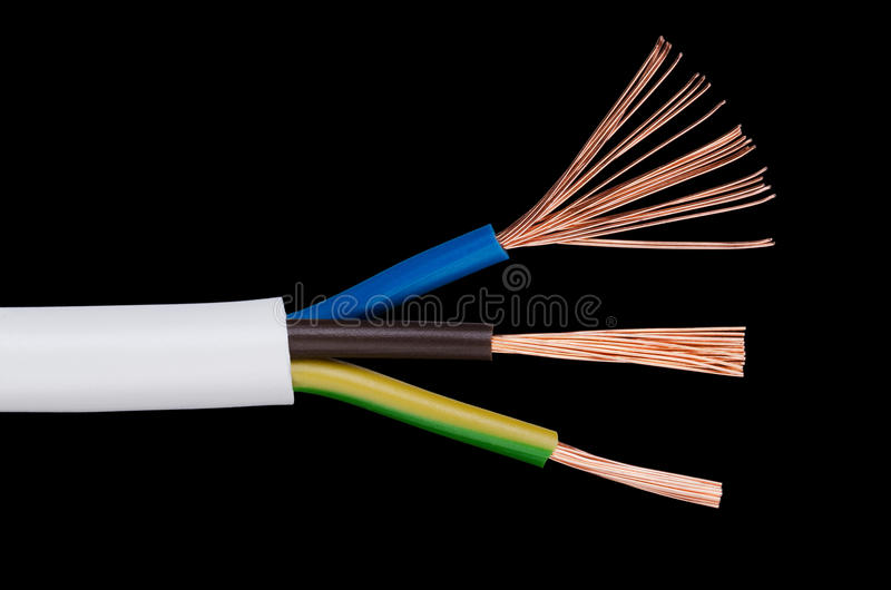 Electrical Power Cable IEC Standard Over Black Stock Image - Image ...