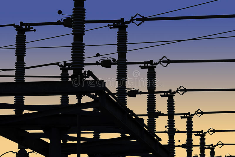 Electrical Power Grid in Silhouette royalty free stock photos