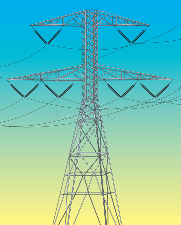 Electrical power line stock illustration