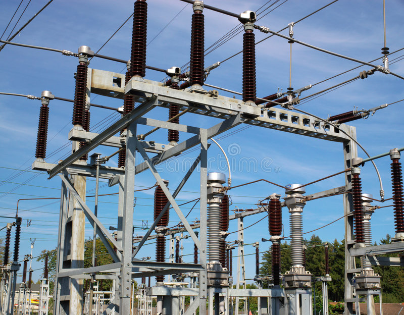 Electrical power lines in sky stock images