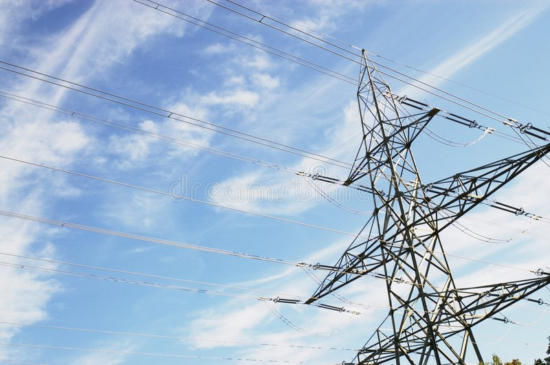 Electrical power lines in sky royalty free stock photography