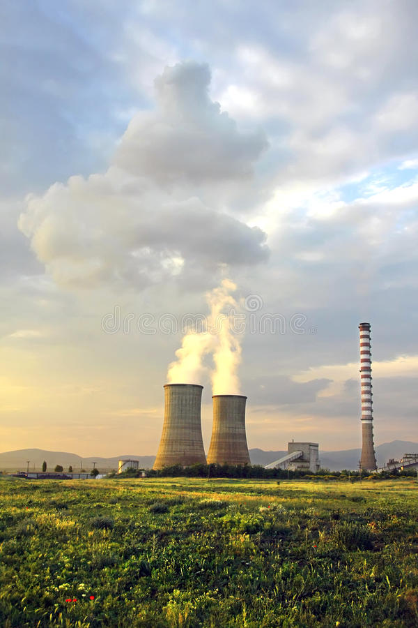 Electrical power station. With lignite stock photo