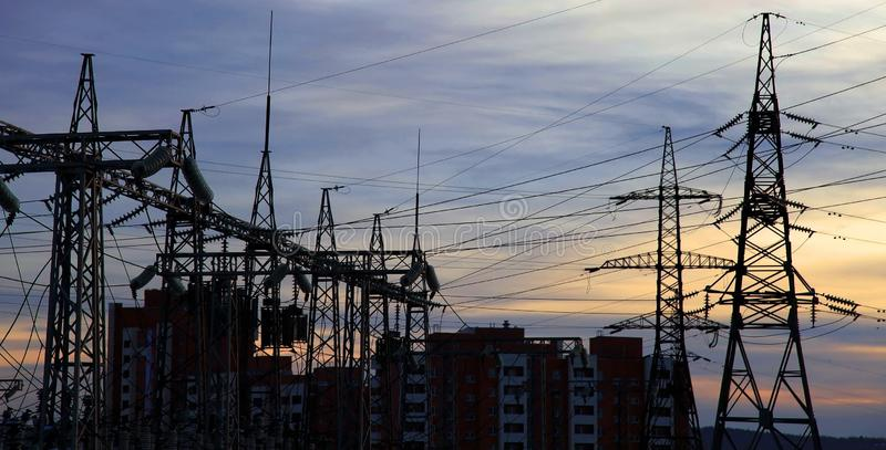 Download Electrical Power Station. Sunset. Stock Image - Image: 14831363