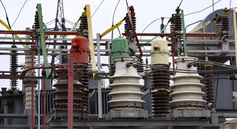 Electrical power transformer in high voltage substation royalty free stock images