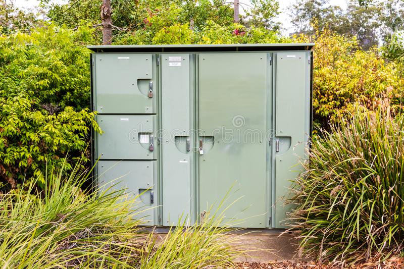 Electrical Power Transformer set in the Bushes stock photo