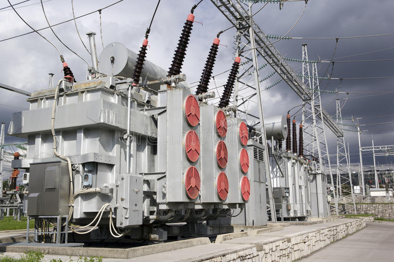 Electrical power transformers royalty free stock image