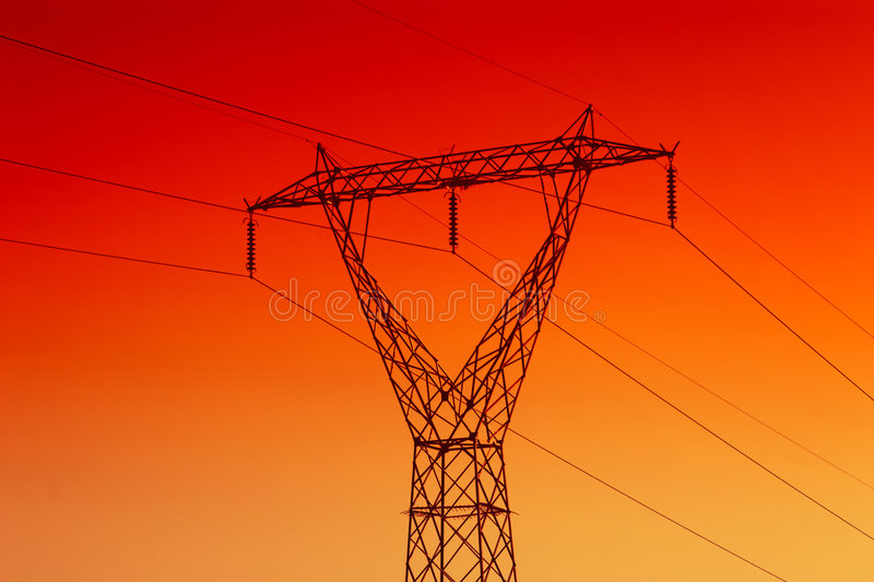 Electrical powerline. High voltage electrical powerline for energy stock image