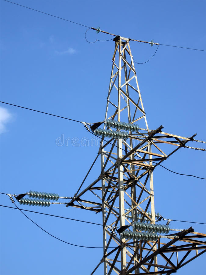 Electrical powerlines (electricity pylons), sky stock photo