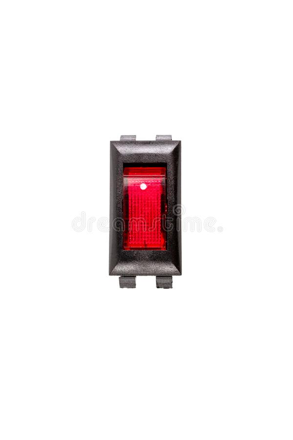 Electrical Red light rocker switch 2 Pin on/off. Electrical Red light rocker switch 2 Pin on/off isolated on white background royalty free stock photo