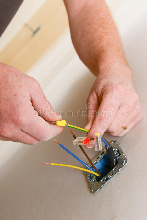 Electrical renovation work stock photography
