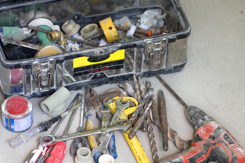 Electrical renovation work, many Hand tools. Electrical renovation work Cable Electric.many Hand tools in toolbox stock image