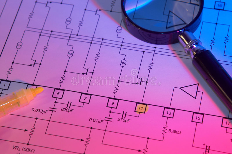 Electrical scheme stock photos
