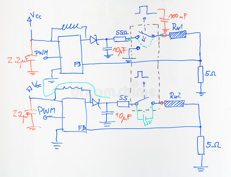 Electrical Scheme Drawn With Blue And Red Pen Stock Image - Image of ...