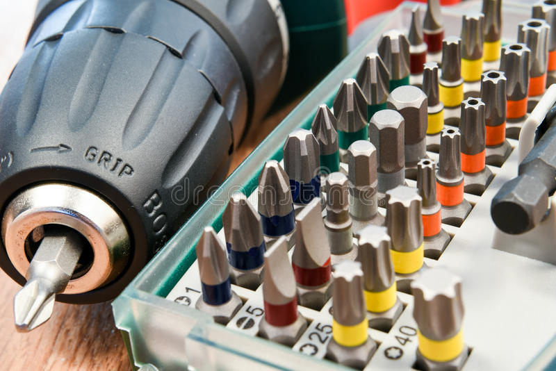 Electrical screwdriver with drill bits stock photo